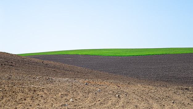 Beautiful black earth fields in ukraine. agricultural rural landscape