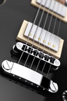 레트로 스타일 극단적인 근접 촬영에 아름 다운 검은 일렉트릭 기타. 3d 렌더링