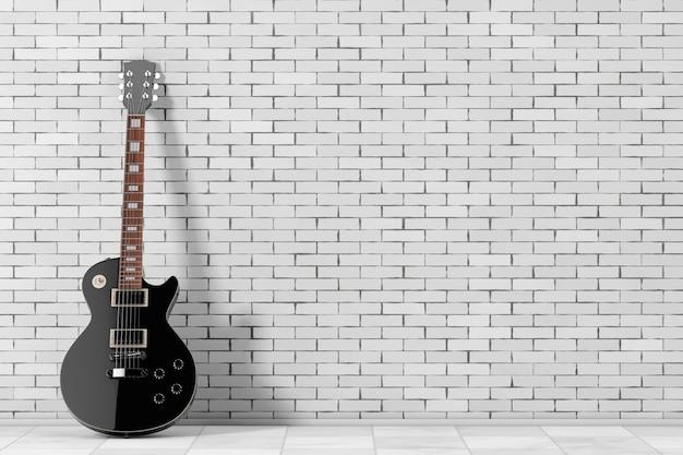 벽돌 벽 앞의 복고풍 스타일의 아름다운 검은색 일렉트릭 기타. 3d 렌더링