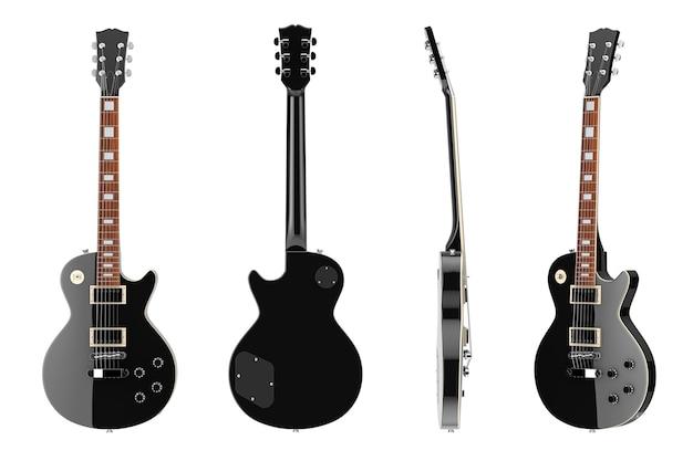 흰색 바탕에 복고 스타일의 아름 다운 블랙 일렉트릭 기타. 3d 렌더링
