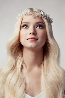 Beautiful blonde blonde bride with tiara