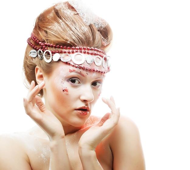 Beautiful blonde winter snow queen