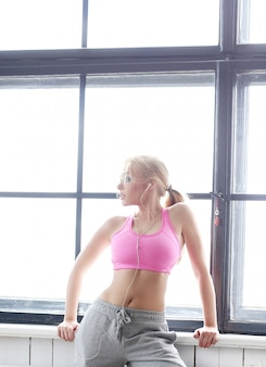 Beautiful blonde with pink top