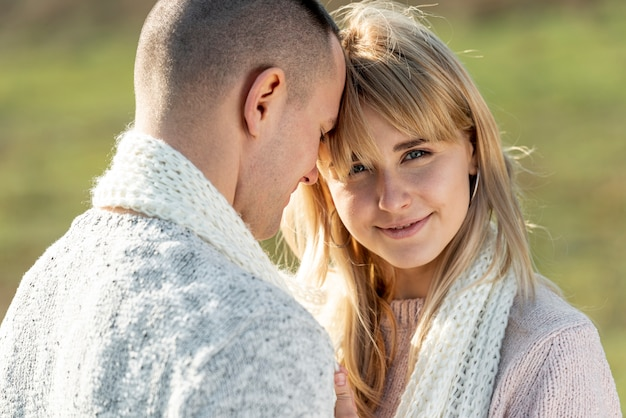 Beautiful blonde woman and handsome man