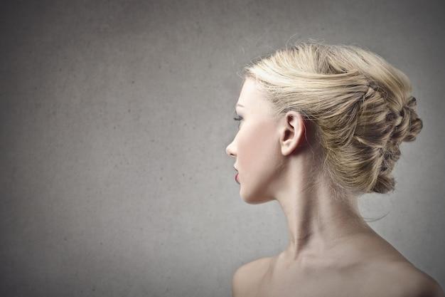 Beautiful blonde woman neck