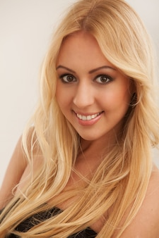 Beautiful blonde woman with long hair