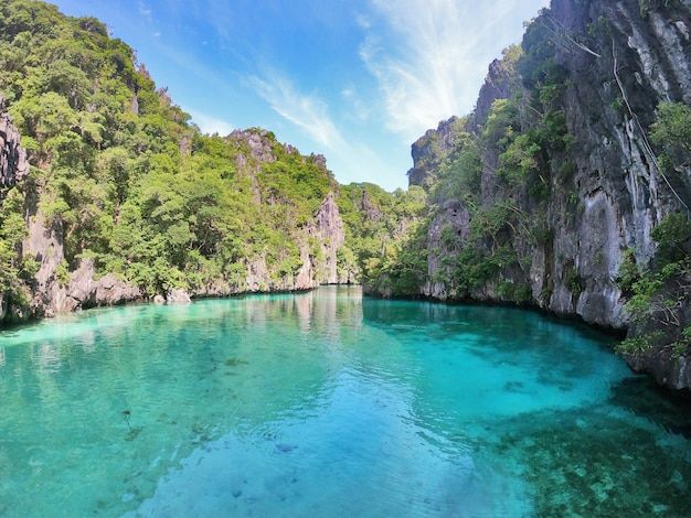 Beautiful blue lagoon in the philippines