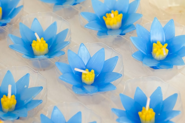 Beautiful blue lotus candle for worship