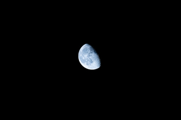 Beautiful blue moon in descending phase.