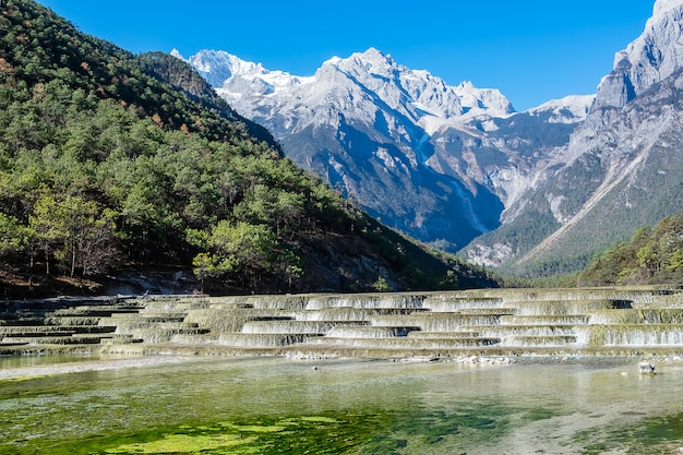 Beautiful of blue moon valley, landmark and popular spot for tourists attractions inside the jade dragon snow mountain (yulong) scenic area, near lijiang old town. lijiang, yunnan, china
