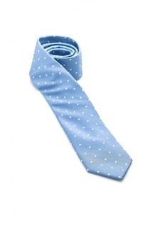 Beautiful blue necktie on white
