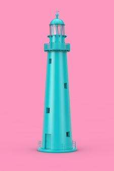 ピンクの背景に美しい青い古い灯台デュオトーン。 3dレンダリング