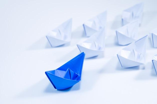 Beautiful blue paper ship