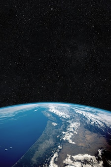 Beautiful blue planet earth in space against the background of stars. universe