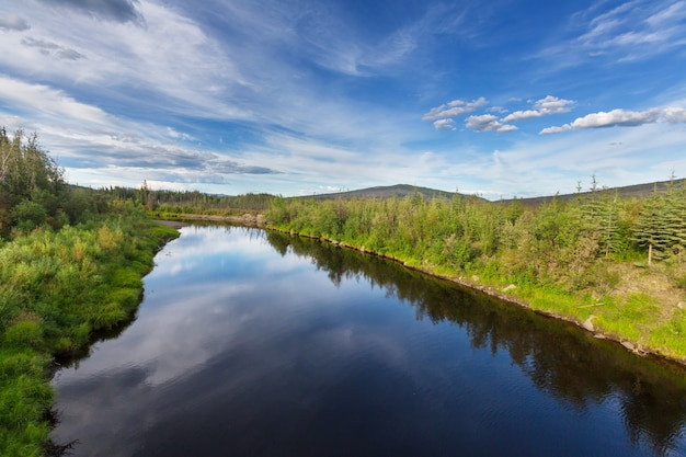 Beautiful blue river in alaska