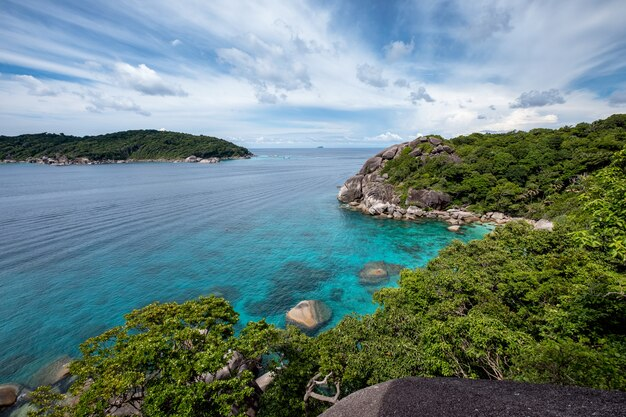 Beautiful blue sea with the sky on viewpoint at similan island