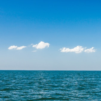 Beautiful blue sky and clouds over tropical ocean