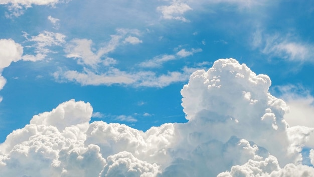 Beautiful blue sky and white clouds with sun light
