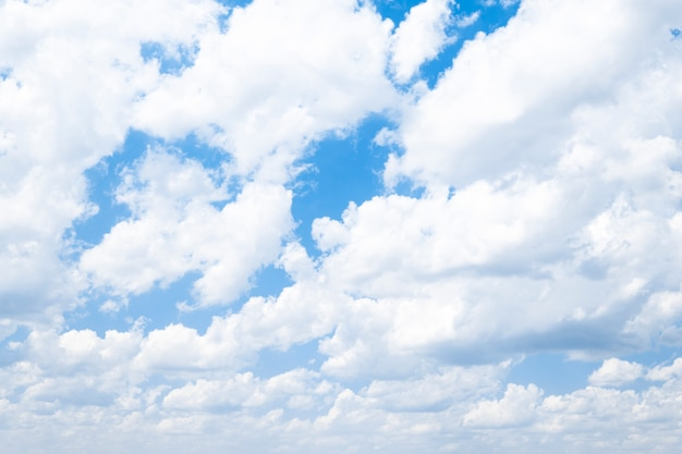 Beautiful blue sky with white air clouds