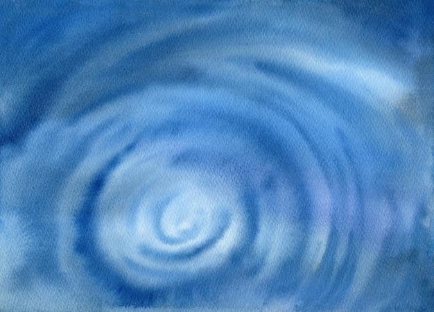 美しい青い水彩画の背景。手描きの海のイラスト。海洋生物。ネイビーブルーのオンブル。