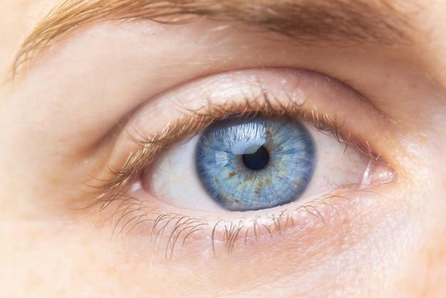 Beautiful blue woman eye close up.