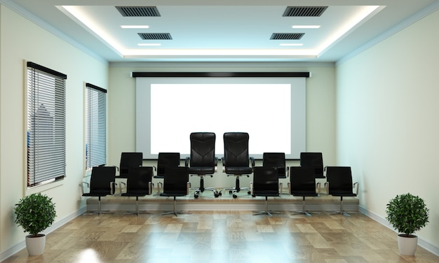 Beautiful boardroom meeting room and conference table
