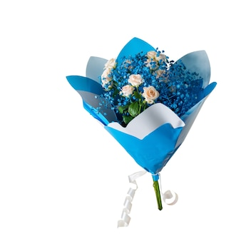 Beautiful bouquet in blue package isolated on white surface