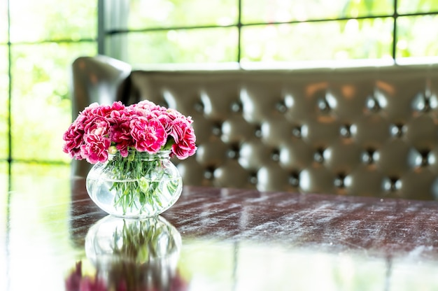 Beautiful bouquet flower in vase on table