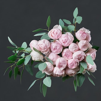 Beautiful bouquet of flowers with pink roses