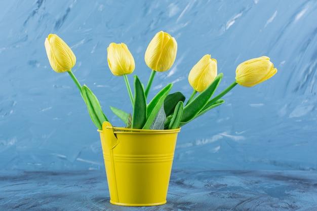 Beautiful bouquet of fresh yellow tulips on blue .