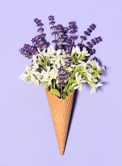 Beautiful bouquet in ice cream cone