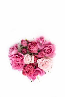 Beautiful bouquet of natural roses isolated