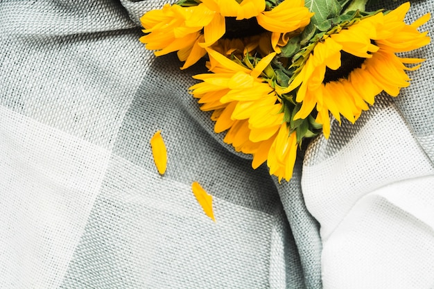 회색 격자 무늬 근접 촬영 보기에 정통 노란 해바라기의 아름다운 꽃다발