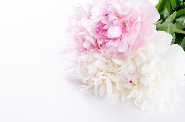 淡いピンクと白の牡丹の美しい花束
