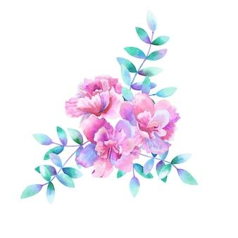 Красивый букет из фиолетовых розовых цветов и зеленых фиолетовых веток. ручной обращается акварель иллюстрации. изолированный.