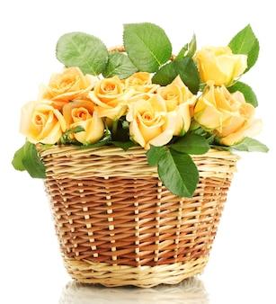 Красивый букет роз в корзине, изолированные на белом фоне
