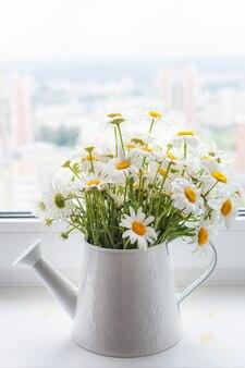 白いじょうろの白い野生のヒナギクの美しい花束が窓に立っています
