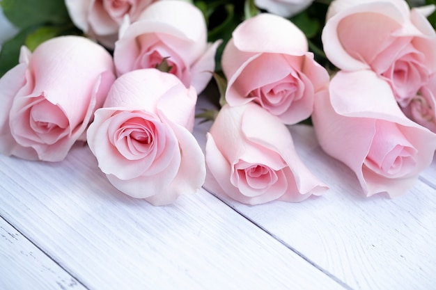 Beautiful bouquet of soft pink roses