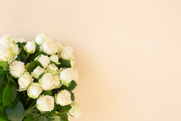 Beautiful bouquet of white roses on light background