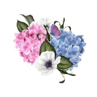 バラとアジサイの花の美しい花束