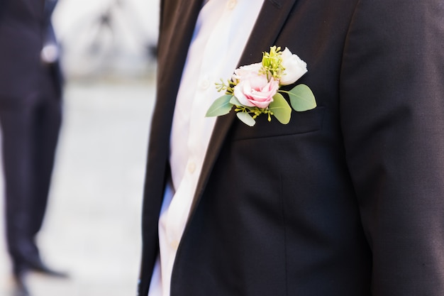 Beautiful boutonniere of the groom