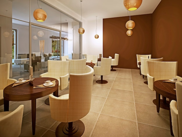 브라운과 크림의 아름다운 새로운 유럽 레스토랑