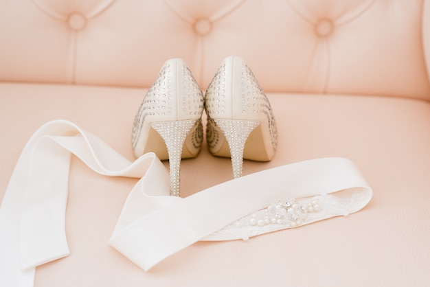 Beautiful bridal accessories for brides during fees. dressing table.