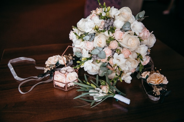 Beautiful bridal bouquet and ring box. wedding decorations