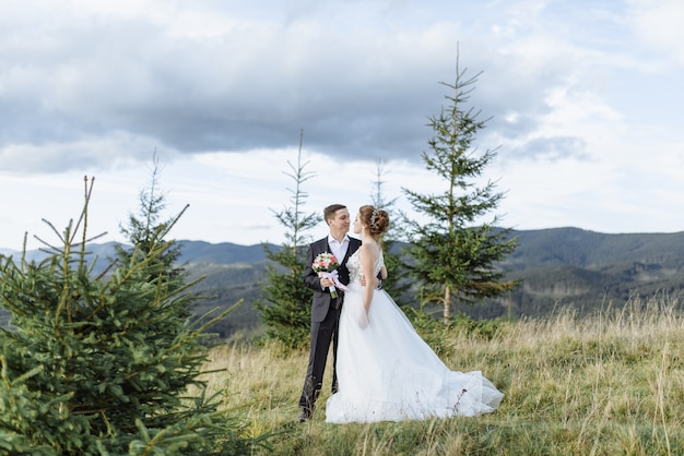 Beautiful bride and groom at the mountains