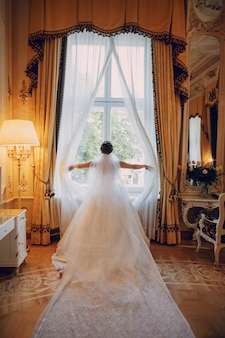 beautiful bride in a white dress and a crown on his head standing near window 1157 13272 - Discover Your Soul Mate With Russian Dating Services