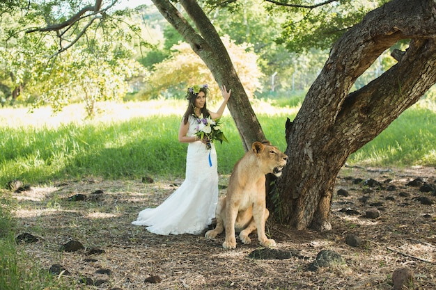 Beautiful bride and a lioness in the picturesque nature