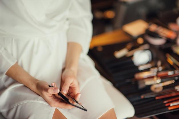 Beautiful bride portrait wedding makeup wedding hairstyle wedding dress
