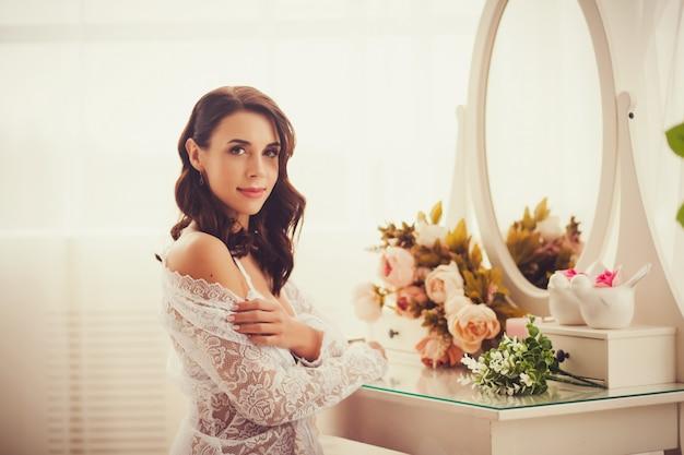 Beautiful bride in room