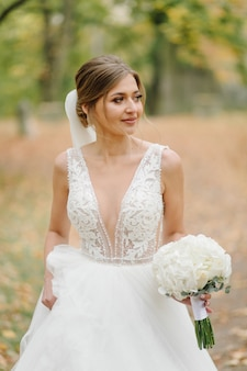 A beautiful bride wearing wedding dress